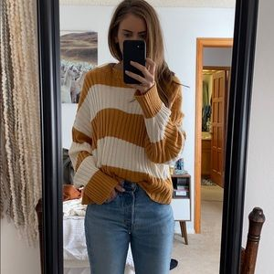 Golden yellow and cream striped oversized sweater